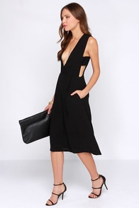 JOA Charming Midi-fications Black Midi Jumpsuit at Lulus.com!