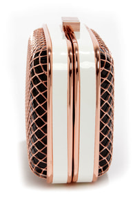Fishnet for Compliments Rose Gold and Black Clutch at Lulus.com!