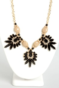 Heart of Stones Beige and Black Statement Necklace at Lulus.com!