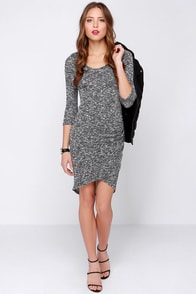 LULUS Exclusive Marl My Words Black and Ivory Midi Dress at Lulus.com!