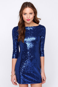 Glamorous Sitting Pretty Blue Sequin Dress at Lulus.com!
