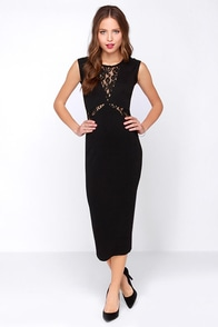 Rumba Black Lace Midi Dress at Lulus.com!