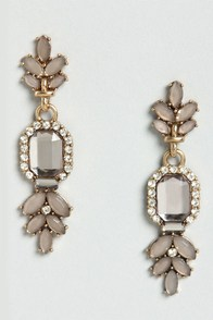 Song and Decadence Grey Rhinestone Earrings at Lulus.com!