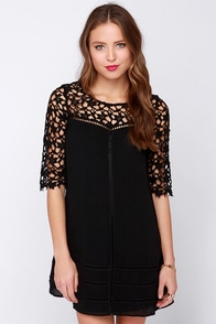 Grace and Charm Black Crochet Dress at Lulus.com!
