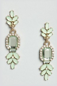 Song and Decadence Mint Rhinestone Earrings at Lulus.com!