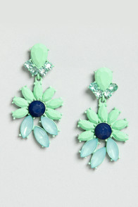 Join In Matte-rimony Mint Rhinestone Earrings at Lulus.com!