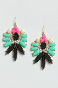 Party Lights Green and Black Rhinestone Earrings at Lulus.com!