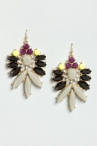 Party Lights Black and Grey Rhinestone Earrings at Lulus.com!