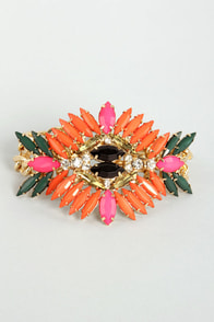 Passion Flower Coral Rhinestone Bracelet at Lulus.com!