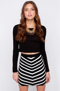 Fit to Rule Black and Ivory Striped Bodycon Skirt at Lulus.com!