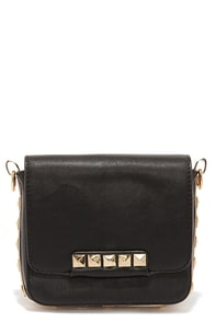 Line 'em Up Studded Black Purse at Lulus.com!