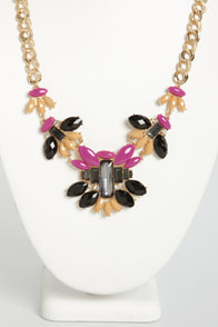 Metropolis Black and Magenta Necklace at Lulus.com!