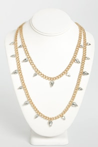 Teardrop In Sometime Gold Rhinestone Necklace at Lulus.com!