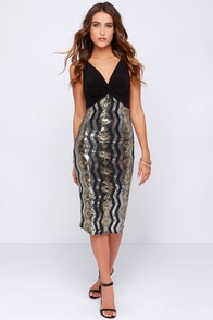 Starlight Stunner Black Sequin Midi Dress at Lulus.com!