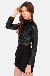 Western Back Time Vegan Leather Black Top at Lulus.com!