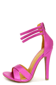 Shoe Republic LA Lusy Metallic Fuchsia Ankle Strap Heels at Lulus.com!