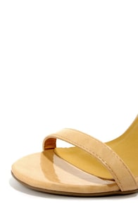 Shoe Republic LA Gayla Nude Patent Single Strap Heels at Lulus.com!