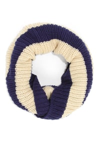 Lend a Helping Band Beige and Navy Blue Striped Infinity Scarf at Lulus.com!