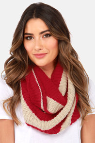 Lend a Helping Band Beige and Red Striped Infinity Scarf at Lulus.com!