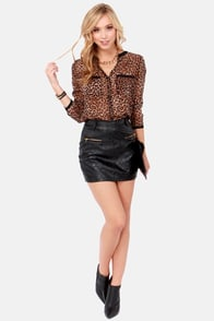 Quilt in a Day Black Vegan Leather Mini Skirt at Lulus.com!