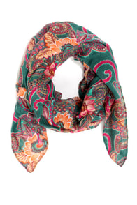 Searching High and Lotus Green Floral Print Scarf at Lulus.com!