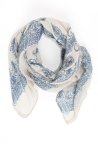 China Doll Blue and Cream Print Scarf