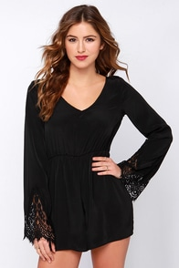 New Traditions Black Long Sleeve Romper at Lulus.com!