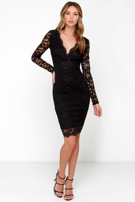 LULUS Exclusive Lady in Charge Black Lace Midi Dress at Lulus.com!