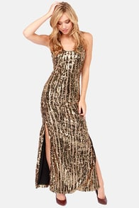 Come Hither Black and Gold Sequin Dress at Lulus.com!
