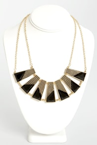 Plot the Points Gold and Black Statement Necklace at Lulus.com!
