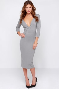 LULUS Exclusive Highest Caliber Grey Midi Dress at Lulus.com!