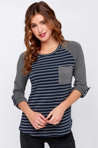 Bars and Stripes Grey and Navy Striped Top at Lulus.com!