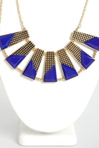 Plot the Points Gold and Blue Statement Necklace at Lulus.com!