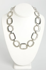 Encrust in Me Silver Rhinestone Necklace at Lulus.com!