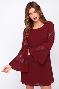 Canterbury Bells Wine Red Long Sleeve Dress at Lulus.com!