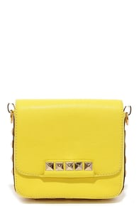 Little Stud-y Studded Yellow Purse at Lulus.com!