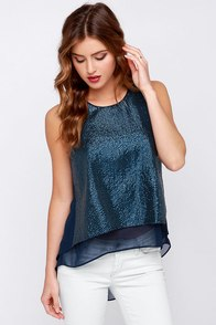 Atlas Hugs Navy Blue Sequin Top at Lulus.com!
