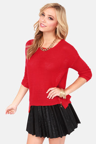 Split the Difference Red Sweater at Lulus.com!