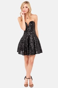 TFNC Halo Strapless Black Sequin Dress at Lulus.com!