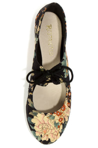 Restricted Sahara Black Floral Lace-Up Flats at Lulus.com!