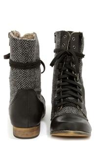 Mixx Shuz Bobby Black Herringbone Combat Boots at Lulus.com!
