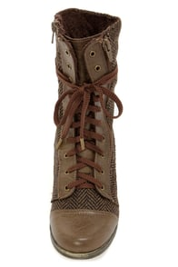 Mixx Shuz Bobby Brown Herringbone Combat Boots at Lulus.com!