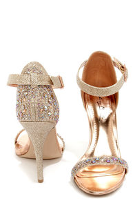 Anne Michelle Enzo 78 Rose Gold Rhinestone Ankle Strap Heels at Lulus.com!