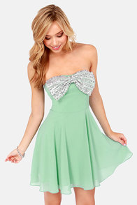 Bow and Steady Strapless Mint Green Sequin Dress at Lulus.com!