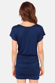 Ruches with Fame Navy Blue Dress at Lulus.com!