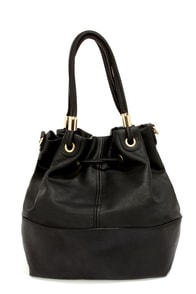 Drawstring Me Along Black Handbag at Lulus.com!
