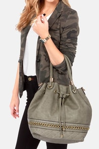 Drawstring Me Along Grey Handbag at Lulus.com!