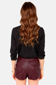 Flock To-Leather Wine Red Vegan Leather Shorts at Lulus.com!