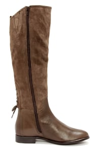 Luichiny Pray Tell Taupe Suede Leather Riding Boots at Lulus.com!