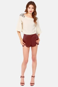 The Bold Shoulder Beaded Cream Crop Top at Lulus.com!